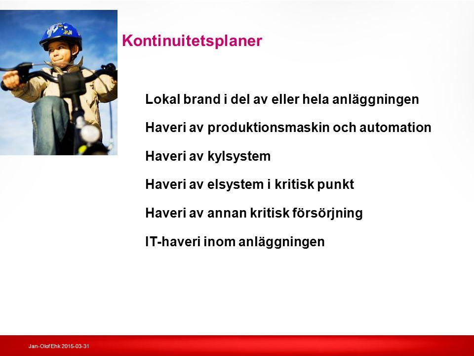 Jan-Olof Ehk 2015-03-31 Kontinuitetsplaner Lokal brand i del av eller hela anläggningen Haveri av produktionsmaskin och automation Haveri av kylsystem