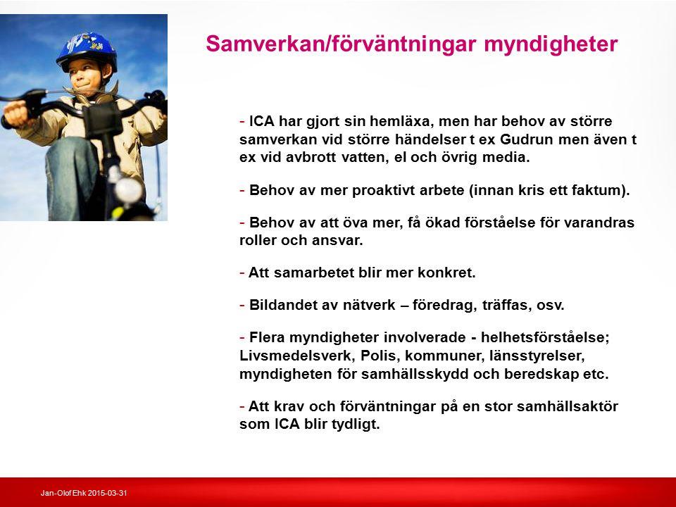 Jan-Olof Ehk 2015-03-31 Samverkan/förväntningar myndigheter - ICA har gjort sin hemläxa, men har behov av större samverkan vid större händelser t ex G