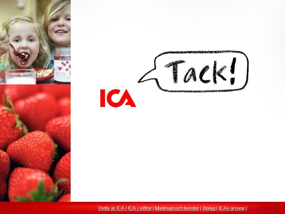 Detta är ICA Detta är ICA | ICA i siffror | Marknad och trender | Bolag | ICAs ansvar | ICA i korthetICA i siffrorMarknad och trenderBolagICAs ansvar