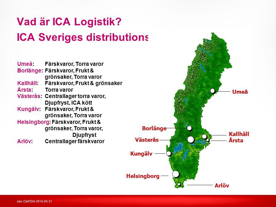 Jan-Olof Ehk 2015-03-31 Vad är ICA Logistik? ICA Sveriges distributionsenheter Kallhäll Årsta Umeå Arlöv Borlänge Västerås Kungälv Helsingborg Kallhäl