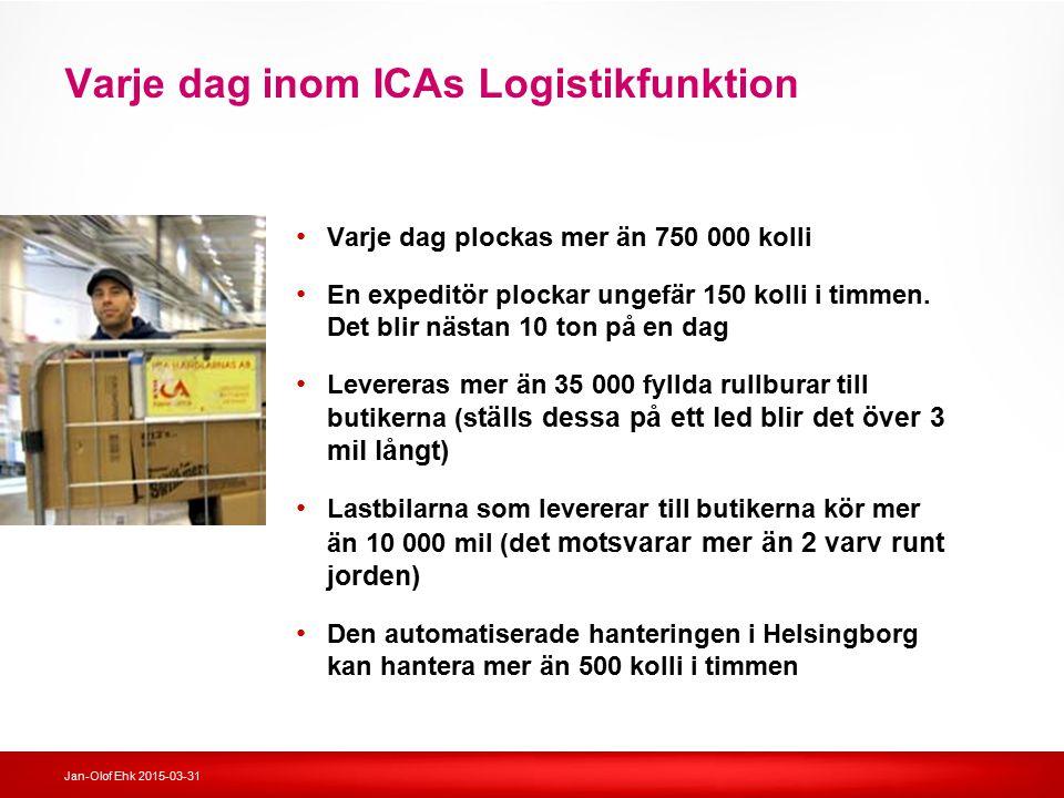 Jan-Olof Ehk 2015-03-31 Varje dag inom ICAs Logistikfunktion Varje dag plockas mer än 750 000 kolli En expeditör plockar ungefär 150 kolli i timmen. D