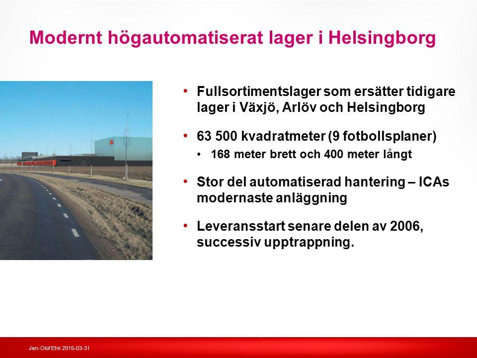Jan-Olof Ehk 2015-03-31 Modernt högautomatiserat lager i Helsingborg Fullsortimentslager som ersätter tidigare lager i Växjö, Arlöv och Helsingborg 63
