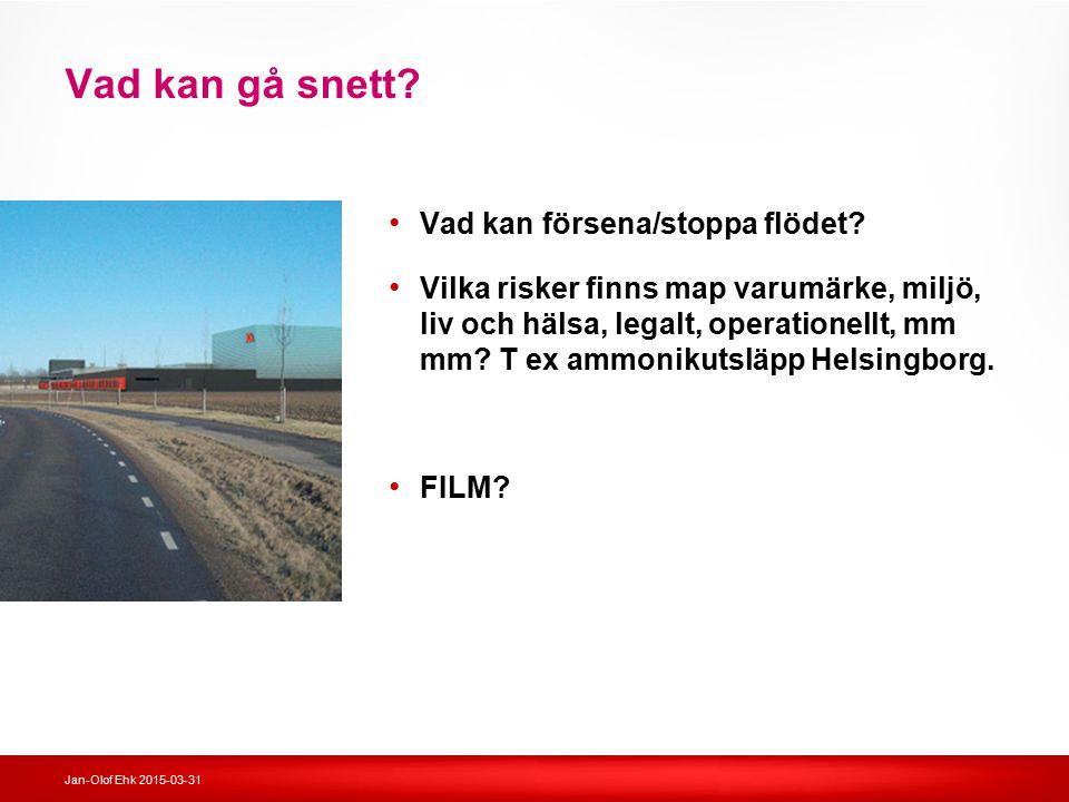 Jan-Olof Ehk 2015-03-31 Vad kan gå snett? Vad kan försena/stoppa flödet? Vilka risker finns map varumärke, miljö, liv och hälsa, legalt, operationellt