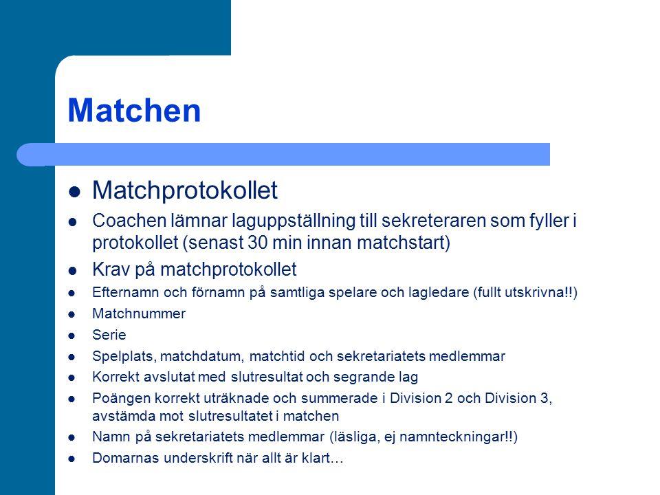 Matchen Matchprotokollet Coachen lämnar laguppställning till sekreteraren som fyller i protokollet (senast 30 min innan matchstart) Krav på matchproto