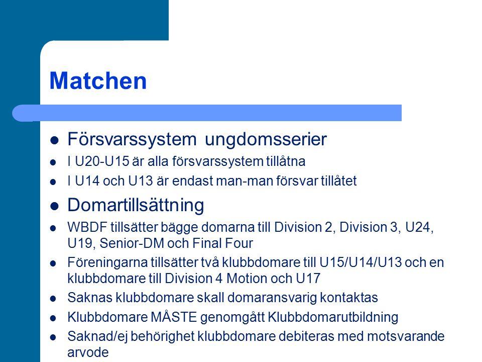 Matchen Försvarssystem ungdomsserier I U20-U15 är alla försvarssystem tillåtna I U14 och U13 är endast man-man försvar tillåtet Domartillsättning WBDF