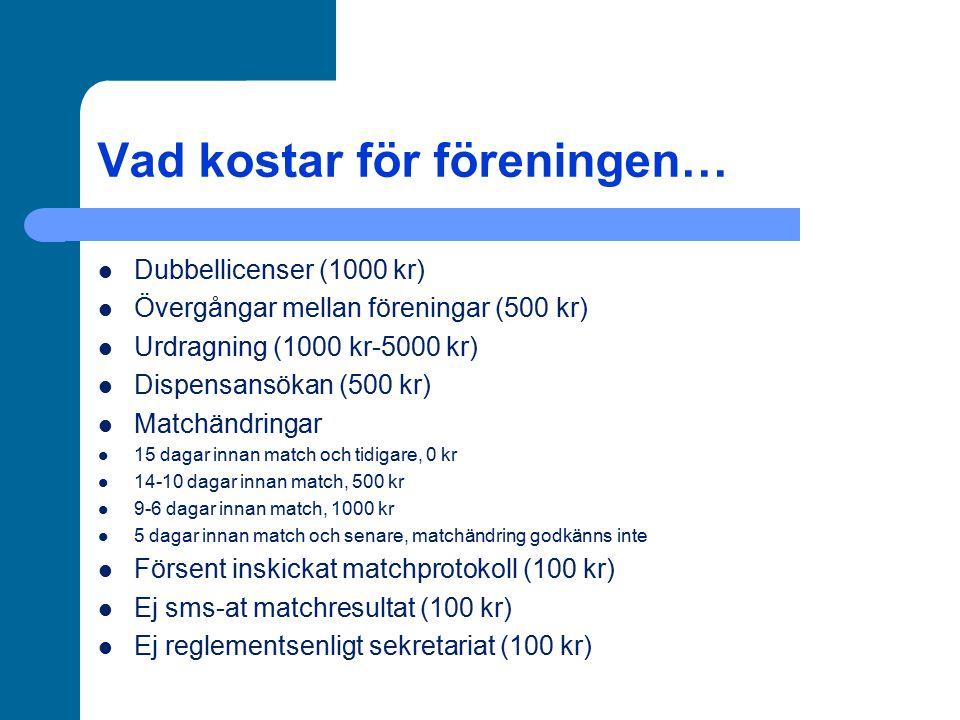 Vad kostar för föreningen… Dubbellicenser (1000 kr) Övergångar mellan föreningar (500 kr) Urdragning (1000 kr-5000 kr) Dispensansökan (500 kr) Matchän