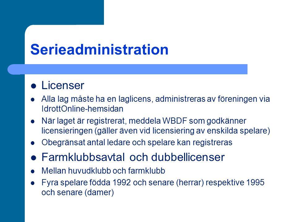 Serieadministration Licenser Alla lag måste ha en laglicens, administreras av föreningen via IdrottOnline-hemsidan När laget är registrerat, meddela W