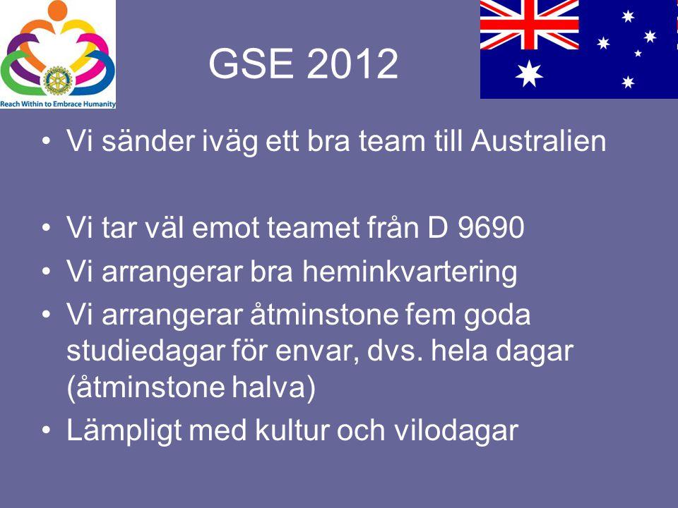 GSE 2012 Vi sänder iväg ett bra team till Australien Vi tar väl emot teamet från D 9690 Vi arrangerar bra heminkvartering Vi arrangerar åtminstone fem goda studiedagar för envar, dvs.