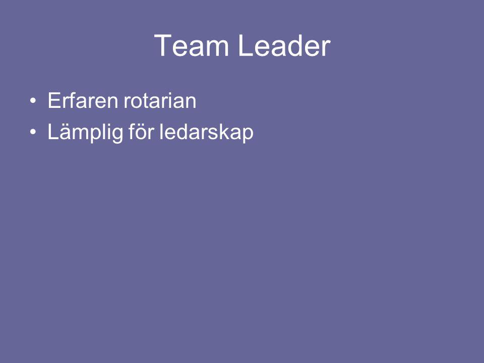 Team Leader Erfaren rotarian Lämplig för ledarskap