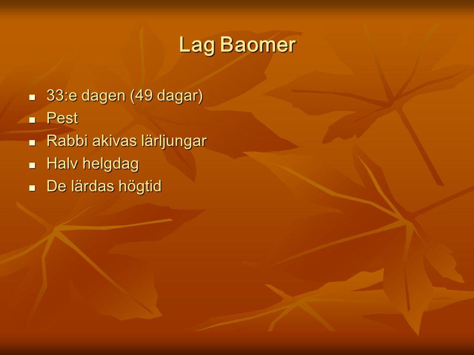 Lag Baomer 33:e dagen (49 dagar) 33:e dagen (49 dagar) Pest Pest Rabbi akivas lärljungar Rabbi akivas lärljungar Halv helgdag Halv helgdag De lärdas h