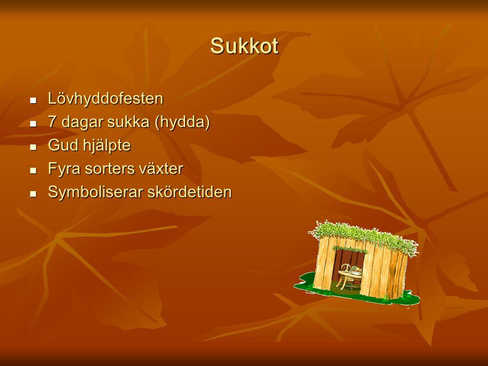 Sukkot Lövhyddofesten Lövhyddofesten 7 dagar sukka (hydda) 7 dagar sukka (hydda) Gud hjälpte Gud hjälpte Fyra sorters växter Fyra sorters växter Symbo