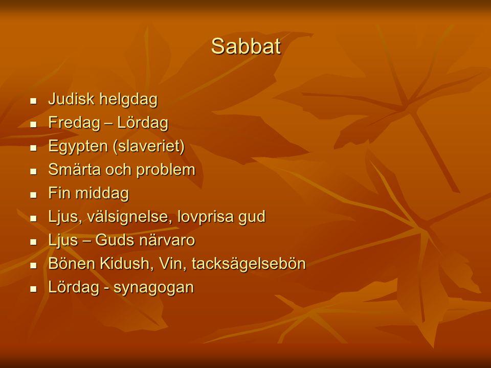 Sabbat Judisk helgdag Judisk helgdag Fredag – Lördag Fredag – Lördag Egypten (slaveriet) Egypten (slaveriet) Smärta och problem Smärta och problem Fin
