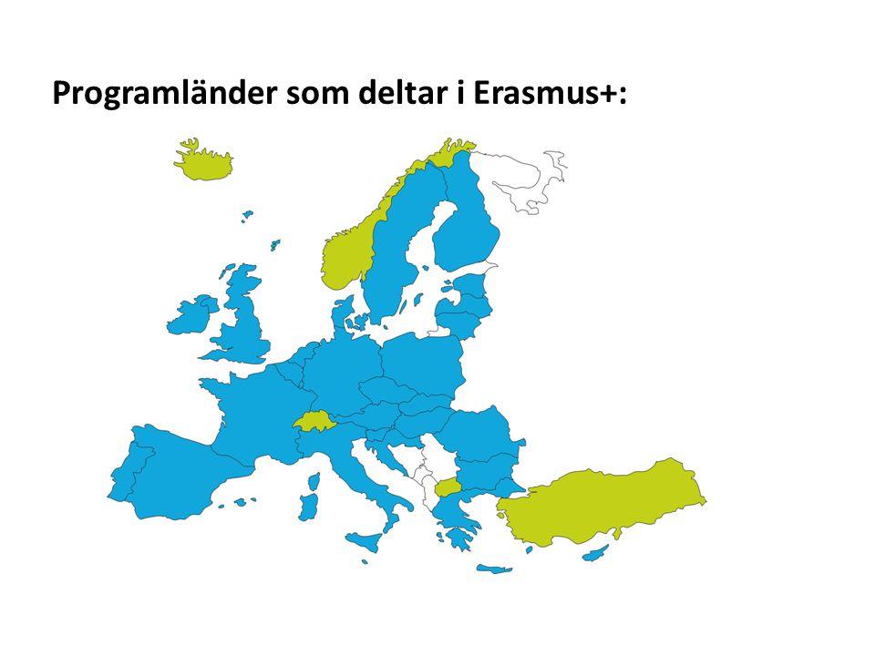 Sv Programländer som deltar i Erasmus+: