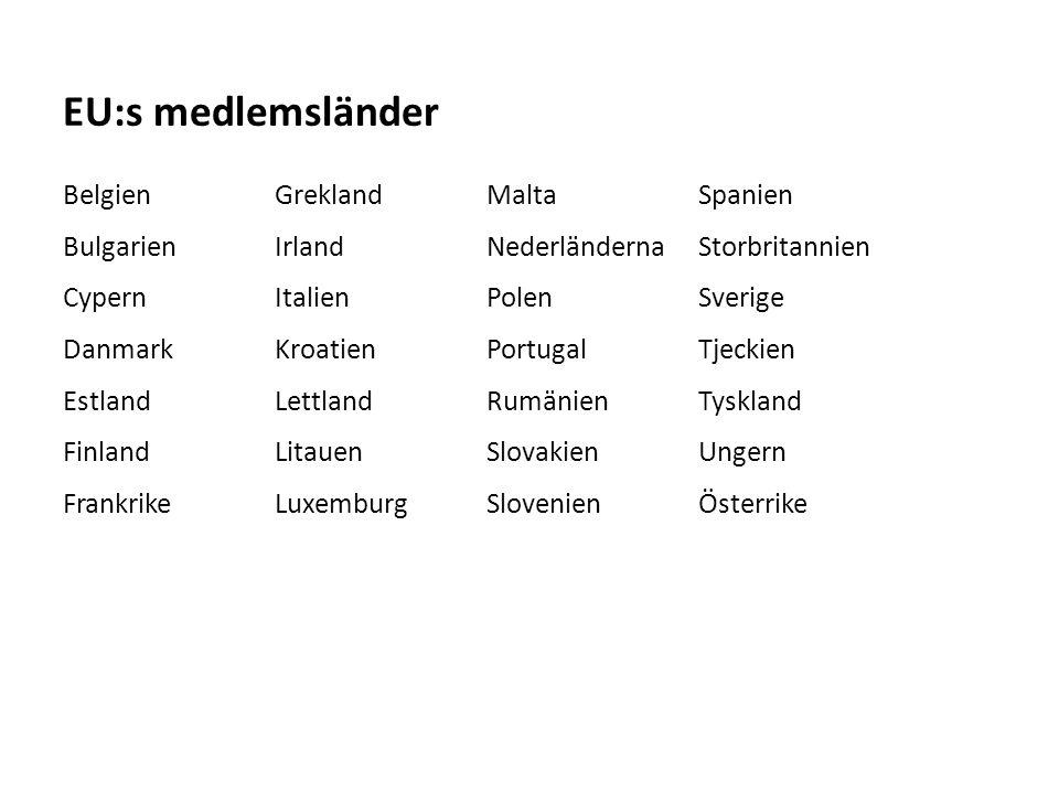 Sv BelgienGreklandMaltaSpanien BulgarienIrlandNederländernaStorbritannien CypernItalienPolenSverige DanmarkKroatienPortugalTjeckien EstlandLettlandRumänienTyskland FinlandLitauenSlovakienUngern FrankrikeLuxemburgSlovenienÖsterrike EU:s medlemsländer