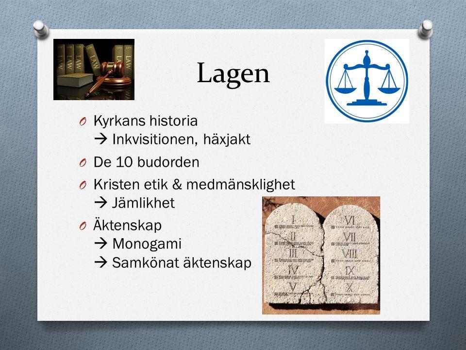Lagen O Kyrkans historia  Inkvisitionen, häxjakt O De 10 budorden O Kristen etik & medmänsklighet  Jämlikhet O Äktenskap  Monogami  Samkönat äkten
