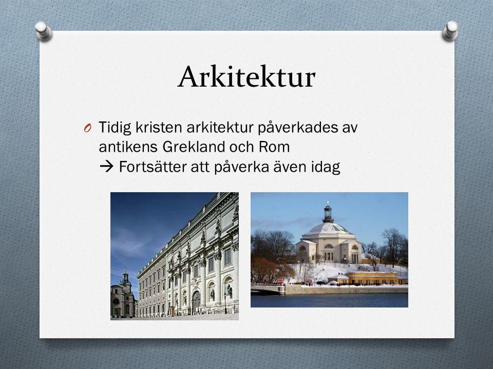 Arkitektur O Tidig kristen arkitektur påverkades av antikens Grekland och Rom  Fortsätter att påverka även idag