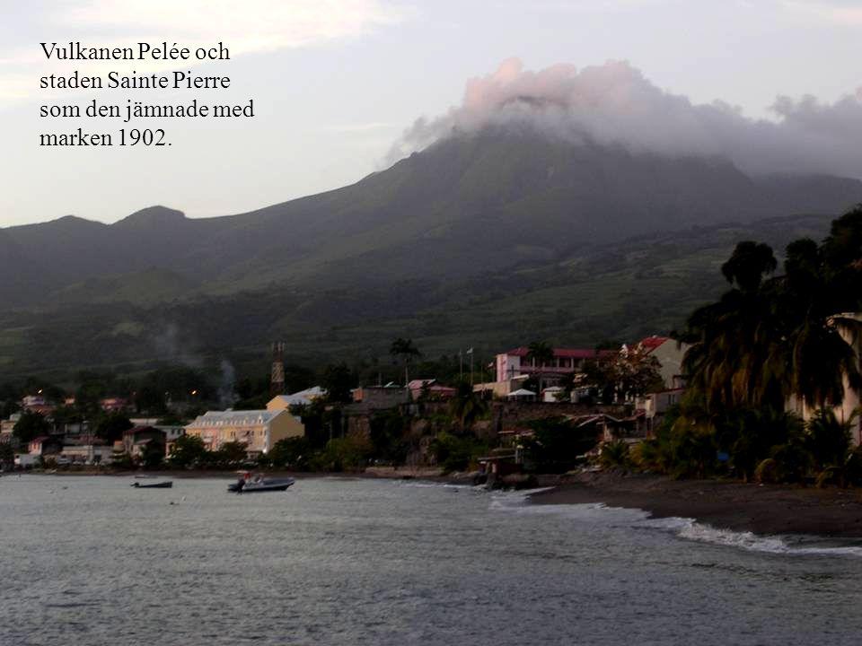 Vulkanen Pelée och staden Sainte Pierre som den jämnade med marken 1902.