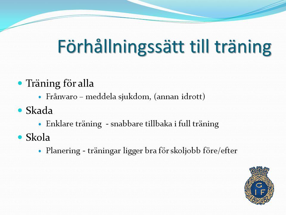 Förhållningssätt till träning Träning för alla Frånvaro – meddela sjukdom, (annan idrott) Skada Enklare träning - snabbare tillbaka i full träning Skola Planering - träningar ligger bra för skoljobb före/efter