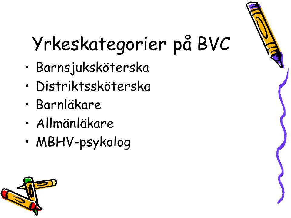 Yrkeskategorier på BVC Barnsjuksköterska Distriktssköterska Barnläkare Allmänläkare MBHV-psykolog