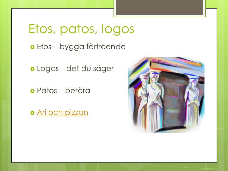 Etos, patos, logos  Etos – bygga förtroende  Logos – det du säger  Patos – beröra  Ari och pizzan Ari och pizzan