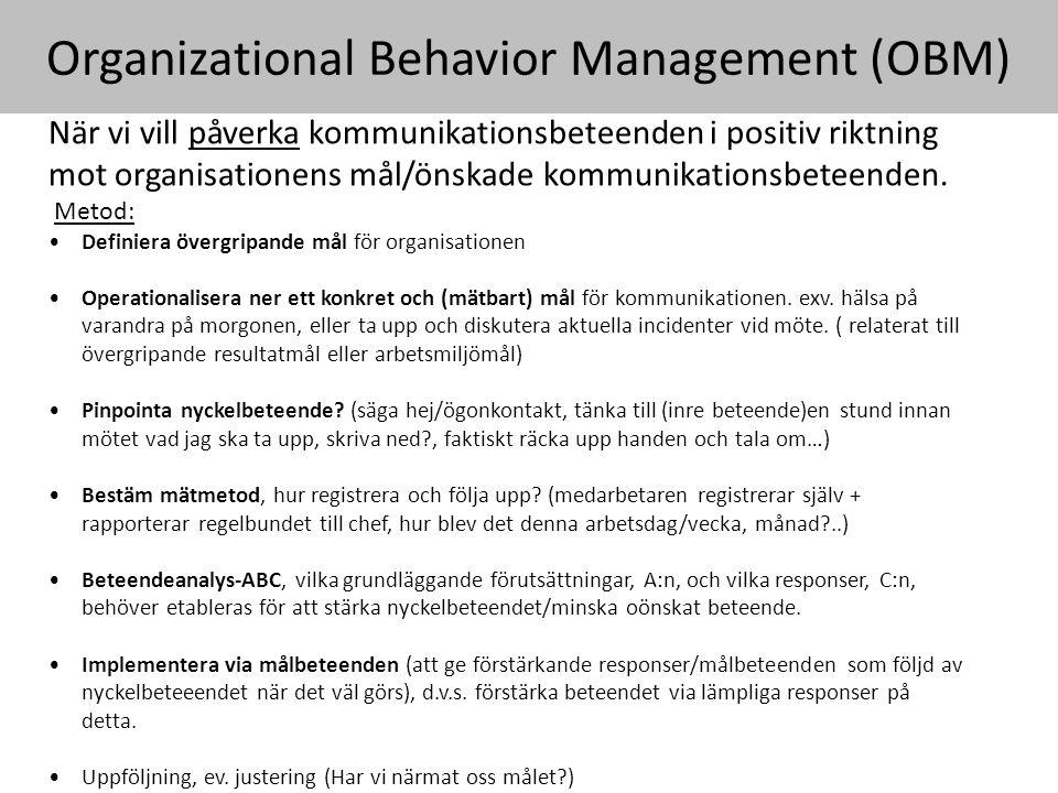 Organizational Behavior Management (OBM) När vi vill påverka kommunikationsbeteenden i positiv riktning mot organisationens mål/önskade kommunikationsbeteenden.