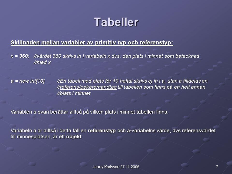 7Jonny Karlsson 27.11.2006 Tabeller Skillnaden mellan variabler av primitiv typ och referenstyp: x = 360; //värdet 360 skrivs in i variabeln x dvs.