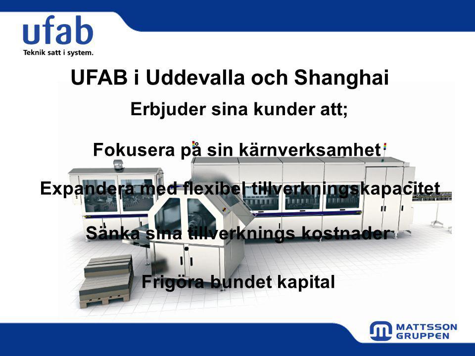 Erbjuder sina kunder att; Fokusera på sin kärnverksamhet Expandera med flexibel tillverkningskapacitet Sänka sina tillverknings kostnader Frigöra bundet kapital UFAB i Uddevalla och Shanghai
