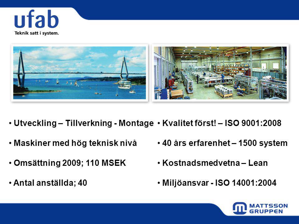Utveckling – Tillverkning - Montage Maskiner med hög teknisk nivå Omsättning 2009; 110 MSEK Antal anställda; 40 Kvalitet först.