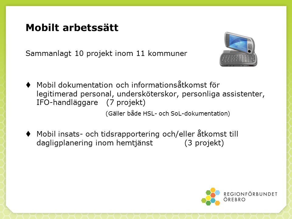 Mobilt arbetssätt Sammanlagt 10 projekt inom 11 kommuner  Mobil dokumentation och informationsåtkomst för legitimerad personal, undersköterskor, pers