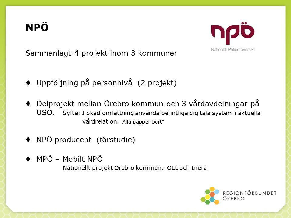 NPÖ Sammanlagt 4 projekt inom 3 kommuner  Uppföljning på personnivå (2 projekt)  Delprojekt mellan Örebro kommun och 3 vårdavdelningar på USÖ. Syfte