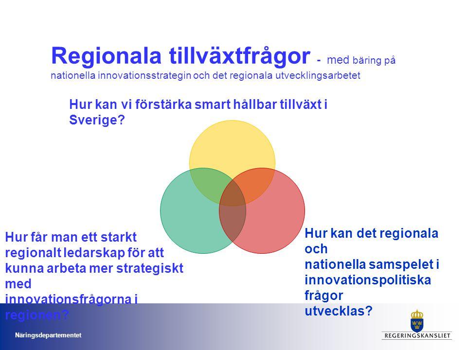 Näringsdepartementet Regionala tillväxtfrågor - med bäring på nationella innovationsstrategin och det regionala utvecklingsarbetet Hur kan vi förstärk