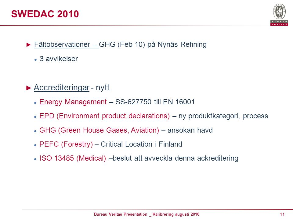 11 Bureau Veritas Presentation _ Kalibrering augusti 2010 SWEDAC 2010 ► Fältobservationer – GHG (Feb 10) på Nynäs Refining 3 avvikelser ► Accrediteringar - nytt.