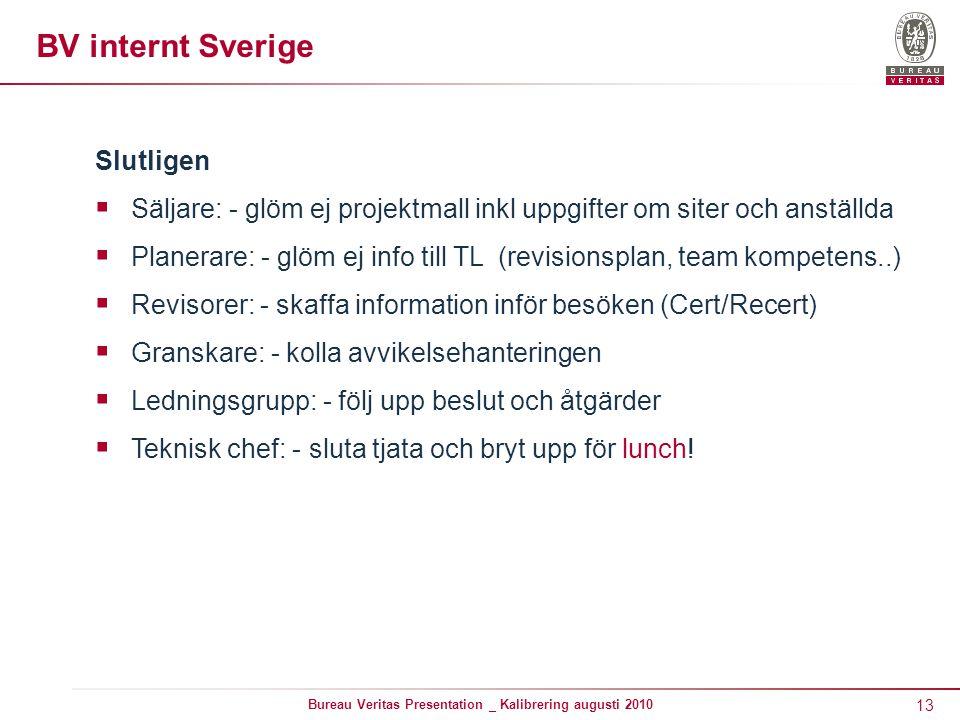 13 Bureau Veritas Presentation _ Kalibrering augusti 2010 BV internt Sverige Slutligen  Säljare: - glöm ej projektmall inkl uppgifter om siter och an