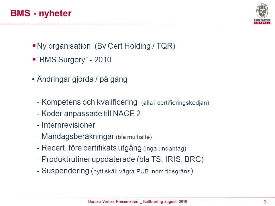 """3 Bureau Veritas Presentation _ Kalibrering augusti 2010 BMS - nyheter  Ny organisation (Bv Cert Holding / TQR)  """"BMS Surgery"""" - 2010 Ändringar gjor"""