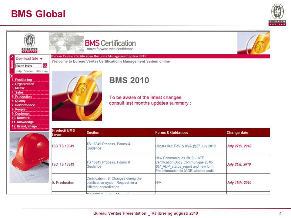 4 Bureau Veritas Presentation _ Kalibrering augusti 2010 BMS Global