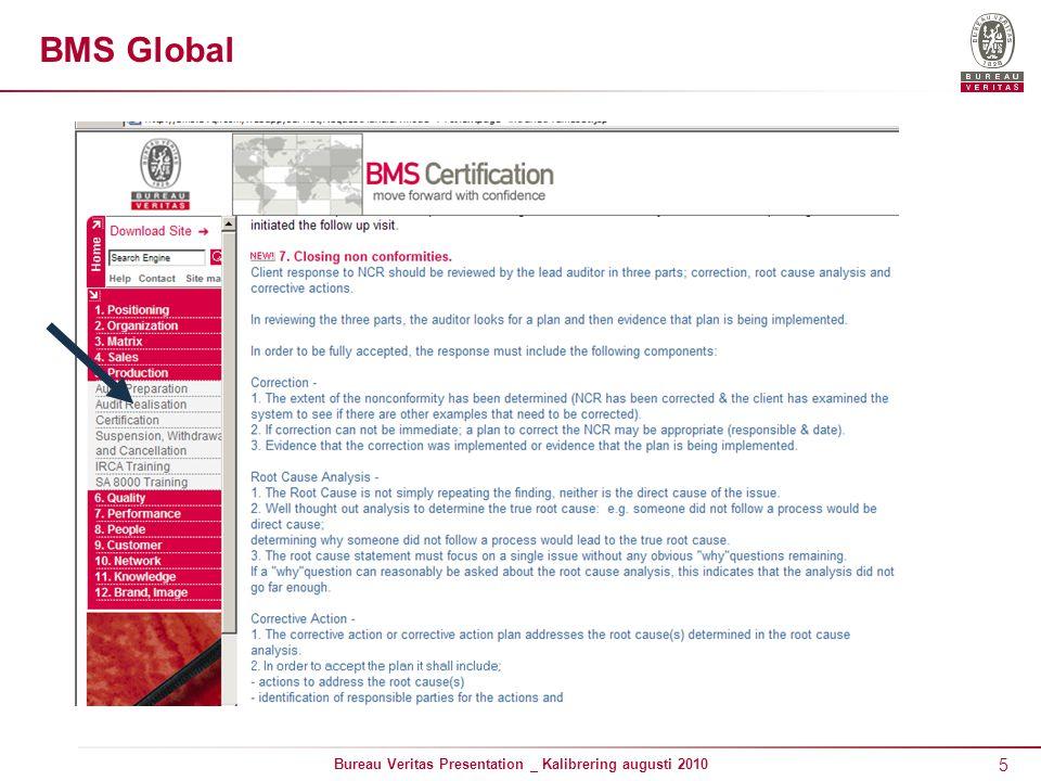 5 Bureau Veritas Presentation _ Kalibrering augusti 2010 BMS Global
