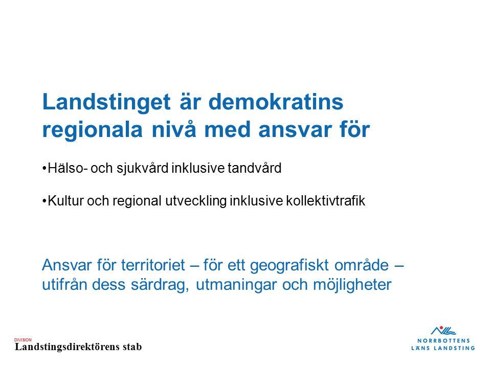 DIVISION Landstingsdirektörens stab Norrbottningen ska leva ett rikt och utvecklande liv i en region med livskraft och tillväxt Strategiska planen 2014