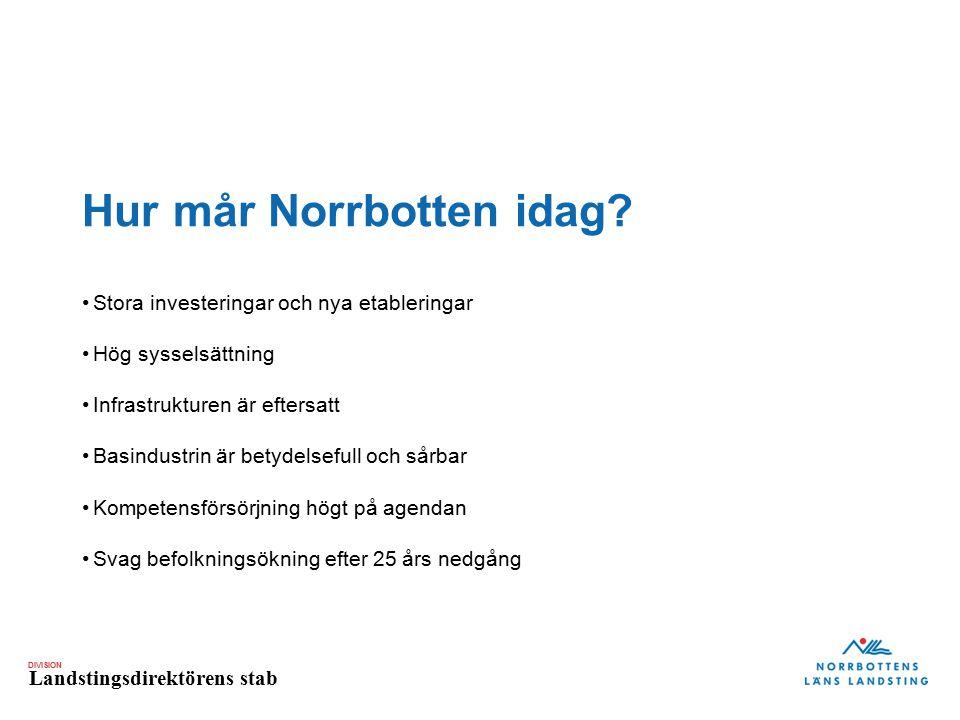 DIVISION Landstingsdirektörens stab Kraftsamling 2011-2015 Framtidsbilder från livet i Norrbotten 2030 Unga Jämställdhet Mångfald Integration Mötesplats, flera röster i samhällsdebatten och breddad syn på tillväxt