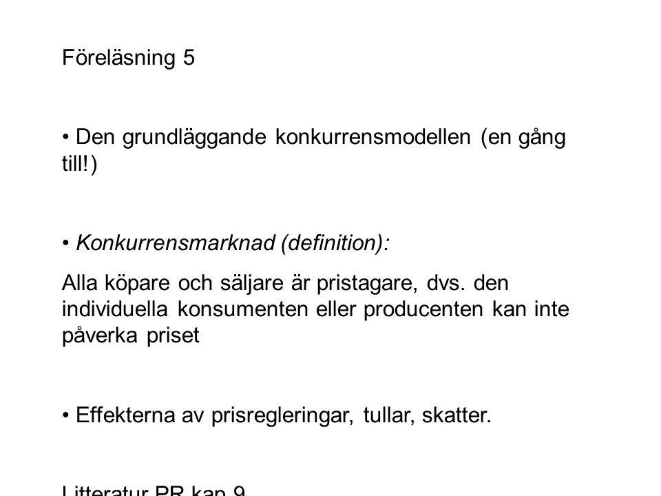 Föreläsning 5 Den grundläggande konkurrensmodellen (en gång till!) Konkurrensmarknad (definition): Alla köpare och säljare är pristagare, dvs. den ind