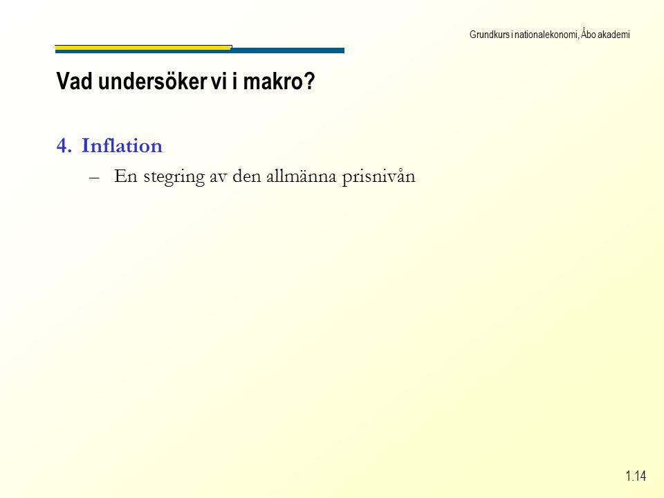 Grundkurs i nationalekonomi, Åbo akademi 1.14 4.Inflation –En stegring av den allmänna prisnivån Vad undersöker vi i makro?