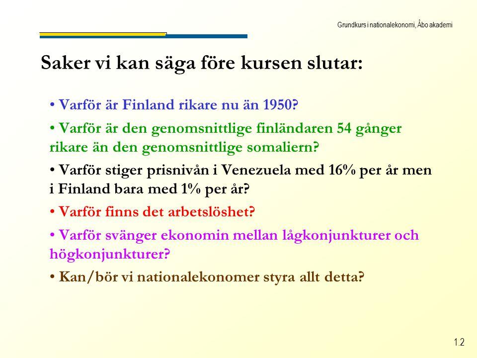 Grundkurs i nationalekonomi, Åbo akademi 1.2 Saker vi kan säga före kursen slutar: Varför är Finland rikare nu än 1950.