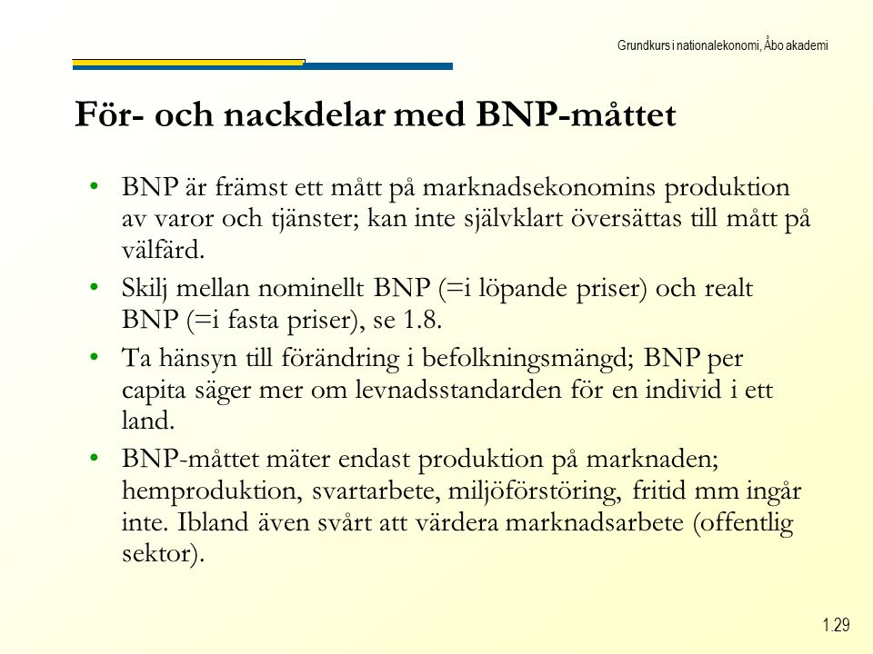 Grundkurs i nationalekonomi, Åbo akademi 1.29 För- och nackdelar med BNP-måttet BNP är främst ett mått på marknadsekonomins produktion av varor och tjänster; kan inte självklart översättas till mått på välfärd.