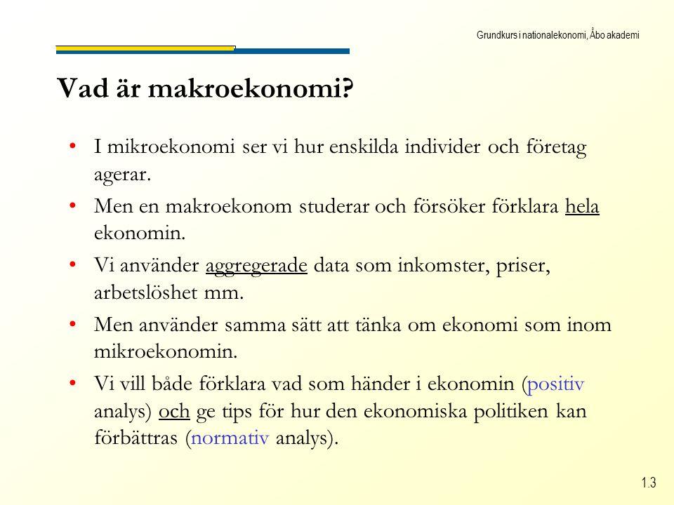 Grundkurs i nationalekonomi, Åbo akademi 1.3 Vad är makroekonomi.