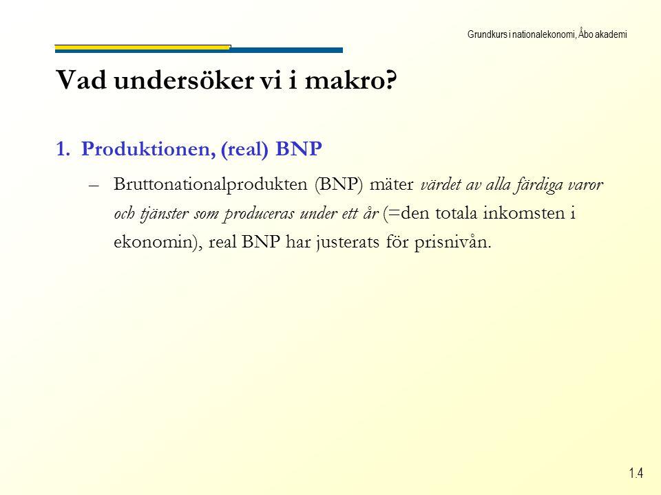 Grundkurs i nationalekonomi, Åbo akademi 1.4 Vad undersöker vi i makro.