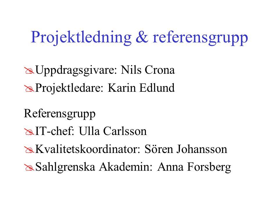 Projektledning & referensgrupp @Uppdragsgivare: Nils Crona @Projektledare: Karin Edlund Referensgrupp @IT-chef: Ulla Carlsson @Kvalitetskoordinator: Sören Johansson @Sahlgrenska Akademin: Anna Forsberg