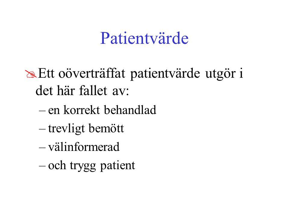Patientvärde @Ett oöverträffat patientvärde utgör i det här fallet av: –en korrekt behandlad –trevligt bemött –välinformerad –och trygg patient