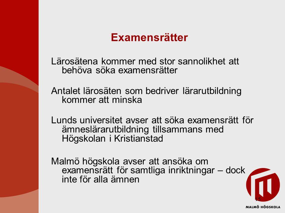 15 Examensrätter Lärosätena kommer med stor sannolikhet att behöva söka examensrätter Antalet lärosäten som bedriver lärarutbildning kommer att minska Lunds universitet avser att söka examensrätt för ämneslärarutbildning tillsammans med Högskolan i Kristianstad Malmö högskola avser att ansöka om examensrätt för samtliga inriktningar – dock inte för alla ämnen