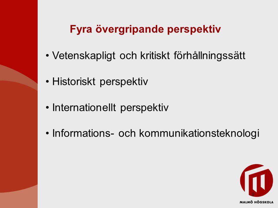 9 Fyra övergripande perspektiv Vetenskapligt och kritiskt förhållningssätt Historiskt perspektiv Internationellt perspektiv Informations- och kommunikationsteknologi