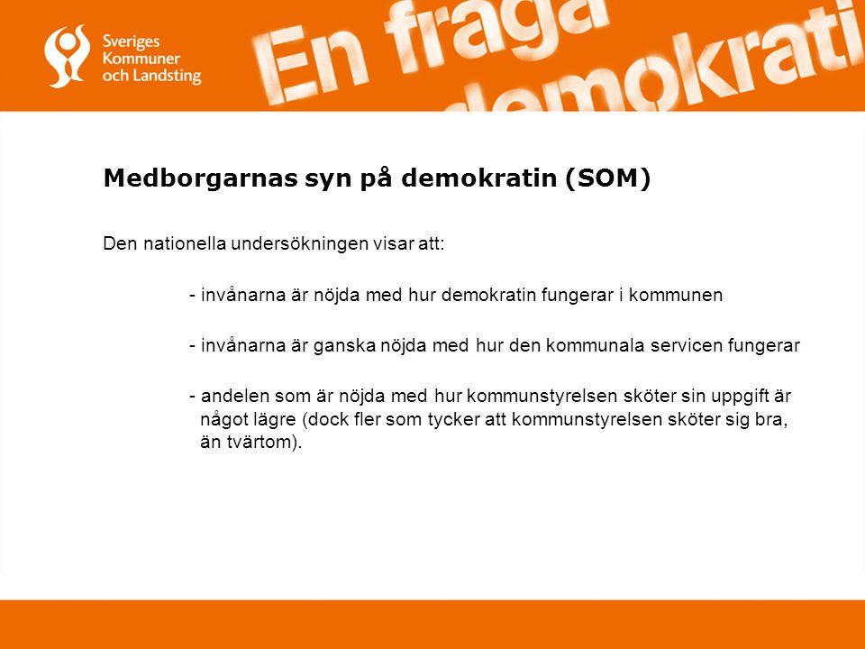 Medborgarnas syn på demokratin (SOM) Den nationella undersökningen visar att: - invånarna är nöjda med hur demokratin fungerar i kommunen - invånarna