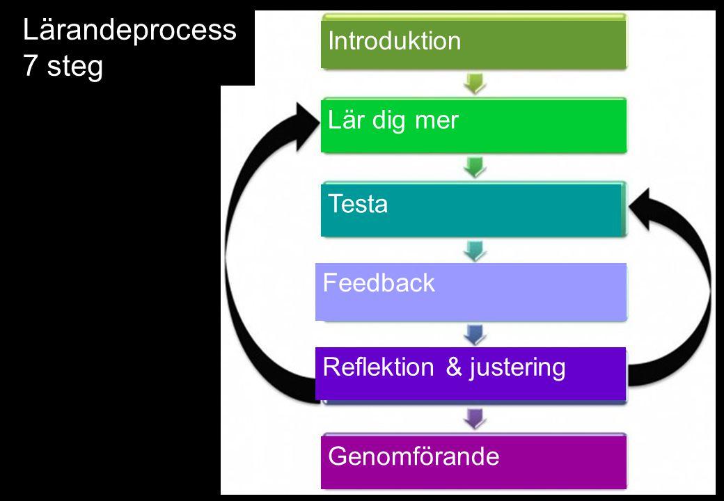 Lärandeprocess 7 steg Introduktion Lär dig mer Testa Feedback Reflektion & justering Genomförande
